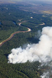 Aerial view of wildfire in forest Stock Image