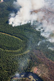 Aerial view of wildfire in forest Royalty Free Stock Photography