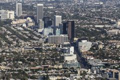 Los Angeles Wilshire Blvd Miracle Mile Aerial View. Aerial view of Wilshire Blvd Miracle Mile neighborhood in Los Angeles, California royalty free stock image