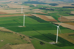 Aerial view of a wind farm Royalty Free Stock Photos