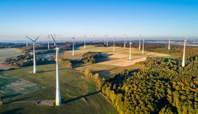 Aerial view of a wind farm in Germany stock photography