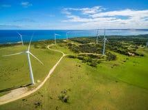 Aerial view of wind farm in rural area on bright sunny day in Australia Foto de archivo