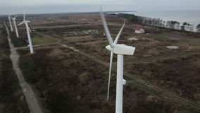 An aerial view of a wind farm stock video footage