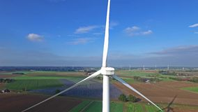 Aerial view on Wind Power, Turbine, Windmill, Energy Production - Clean and Renewable Energy.  stock footage