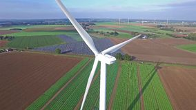 Aerial view on Wind Power, Turbine, Windmill, Energy Production - Clean and Renewable Energy.  stock video