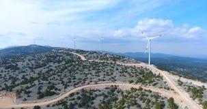 Aerial view of Wind Turbine Farm, Turkey stock footage