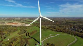 Aerial view of wind turbine. Near munich, germany stock footage