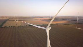 Aerial view Wind turbine, windmills on windpark field.Windmill grass farm ,Sustainable development, renewable energy. Electric power production concept stock video