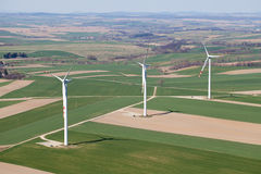 Aerial view of wind turbines Stock Image