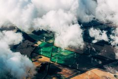 Aerial view of wind turbines Royalty Free Stock Photos