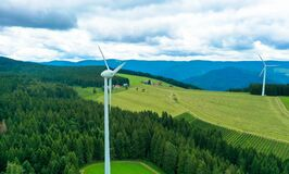 Aerial view, Wind turbines in the field, Black Forest Germany