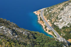 Aerial view of a winding coastal road and sea Stock Photo