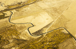 Aerial view of a winding river surrounded by yellow wheat field Royalty Free Stock Photos