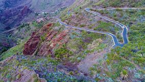 Aerial view winding road near Masca gorge stock footage