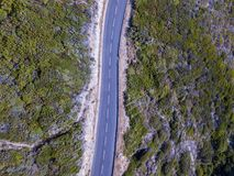 Aerial view of winding roads of the French coast. Cap Corse Peninsula, Corsica. Coastline. France Stock Photography