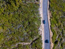 Aerial view of winding roads of the French coast. Cap Corse Peninsula, Corsica. Coastline. France Royalty Free Stock Photo