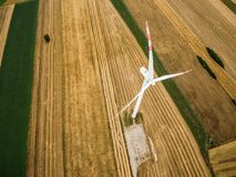 Aerial view of windmill from above royalty free stock photo