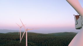 Aerial view of windmill stock video footage