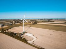 Aerial view of windmill at the countryside. Under blue clear sky, duotone image Stock Photography