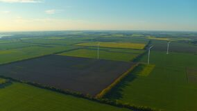 Aerial view of windmill farm generating eco power for sustainable development.