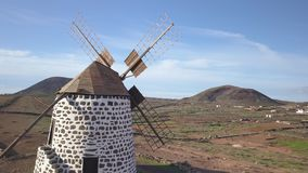 Aerial view of windmill stock footage
