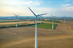 Aerial view on the windmills Stock Photography