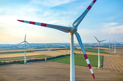 Aerial view on the windmills Stock Photos