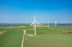 Aerial view on the windmills Royalty Free Stock Images