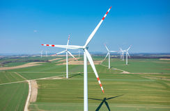Aerial view on the windmills Royalty Free Stock Photos