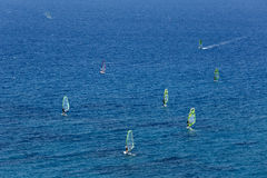 Aerial view of windsurfers on the sea Stock Image