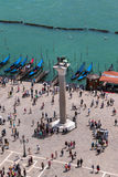 Aerial view of Winged Lion Column and Gondola in venice - Italy Stock Image