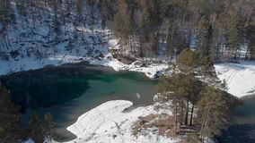 Aerial view of winter blue lakes stock footage