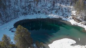 Aerial view of winter blue lakes stock video