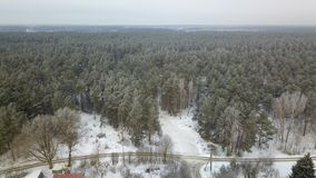 Aerial view of winter frozen forest covered in snow Stock Images