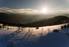 Aerial view of winter forest covered in snow. drone photography - panoramic image stock photo