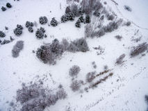 Aerial view of winter forest from drone. Aerial view of winter forest covered in snow. drone photography Stock Image