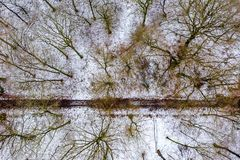 Aerial view of the winter forest with path from above royalty free stock photos