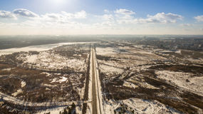 Aerial view in the winter landscape Royalty Free Stock Photos