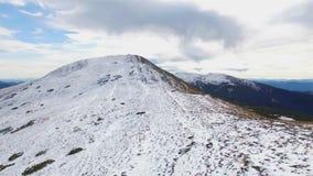 Aerial view of winter Montenegrin Mountains ridge stock footage