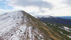 Aerial view of winter Montenegrin Mountains ridge stock video footage