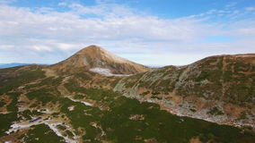 Aerial view of winter Montenegrin Mountains ridge stock footage