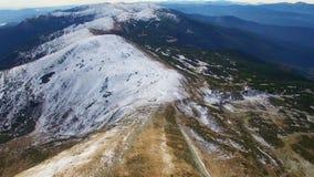 Aerial view of winter Montenegrin Mountains ridge stock video footage