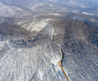 Aerial view of winter mountain road. Stock Photography