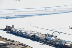 Aerial view in winter of Navy Pier stock photos