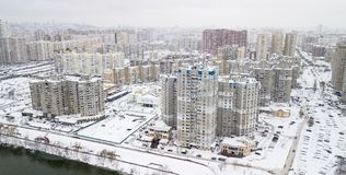 Aerial view of the winter residential quarter of the city of Kiev, Ukraine Stock Image