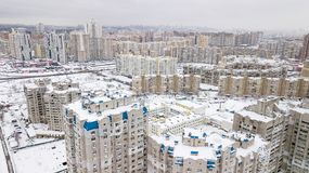 Aerial view of the winter residential quarter of the city of Kiev, Ukraine Stock Photography