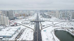Aerial view of the winter residential quarter of the city of Kiev, Ukraine Stock Photo