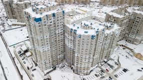 Aerial view of the winter residential quarter of the city of Kiev, Ukraine Royalty Free Stock Image