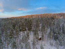 Aerial view of winter snowscape and forest Stock Images