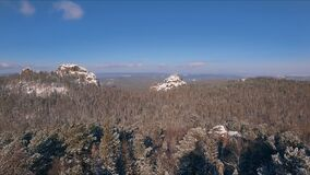Aerial view winter snowscape with forest, trees and snowy cliffs. Blue sky. Winter landscape. Siberia stock video